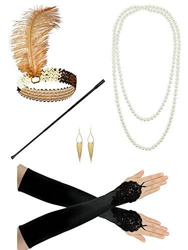 1920er Jahre Zubehör Stirnband Flapper Kopfschmuck Perlenkette Handschuhe Lady Charleston Kostüm Set (1920er Jahre Perlenkette)