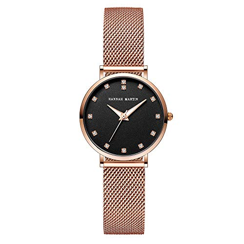 Damen Uhren, L'ananas Frau Rhinestone Strass Edelstahl Mesh-Band verstellbar luxuriös Quarz Armbanduhren Women Watches Wristwatches (Gold+Schwarz)