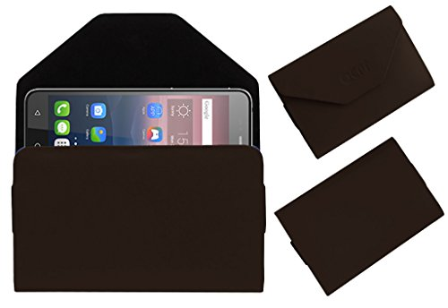 Acm Premium Flip Flap Pouch Case for Alcatel Pixi 4 6″ 4g Mobile Leather Cover Magnetic Closure Brown