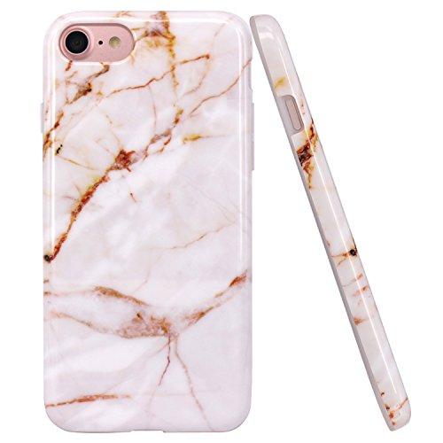 JIAXIUFEN iPhone 7 Hülle, iPhone 8 Hülle, Weiß Gold Marmor Design Soft TPU Silikon Schutz Handy Hülle Handytasche HandyHülle Case Cover Tasche Schutzhülle für Apple iPhone 7/iPhone 8