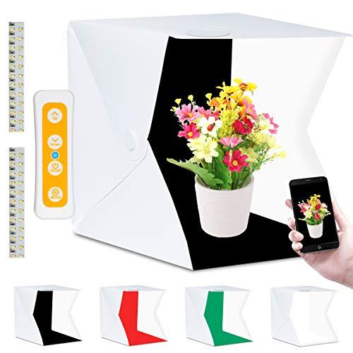 Fotostudio, Fotobox Lichtzelt 40x40 mit 3 Lichtfarben 140 LED Mini Mobiles Tragbare Tischplatte Fotografie Leuchtkasten, Lichtwürfel Fotozelt mit 4 Hintergrund(Weiß/Schwarz/Rot/Grün)