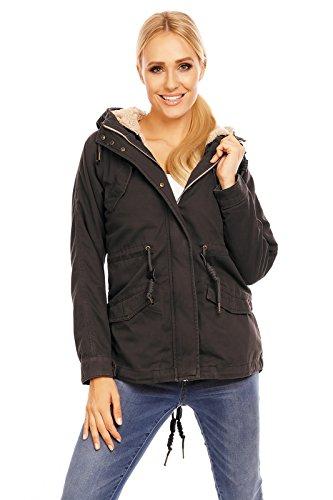 Urban Surface gefütterte Damen Winter-Jacke mit großer Kapuze D7210A44363A1 Dunkelgrau S