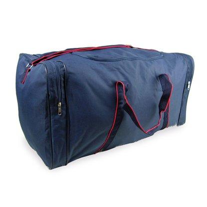 Fashion Essentials-Stylish Rot getrimmt Gewebte Tragegriffe Fracht Holdall Duffle Bag (NAVY) (Getrimmt Rot)