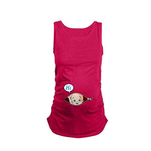 MEIHAOWEI Schwangere Frauen T-Shirt Kostüm Sommer Lustige Baumwolle Weste Tops Rose XL (Schwangere Kostüme)