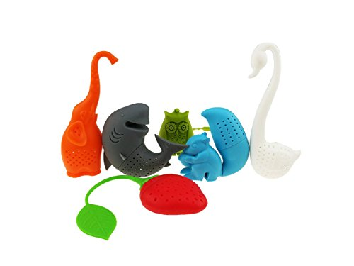 Creative cute animal eco-friendly silicone infusore tè colino set di 6 pezzi elephant shark swan scoiattolo gufo strawberry tea steeper tea lover' s gift