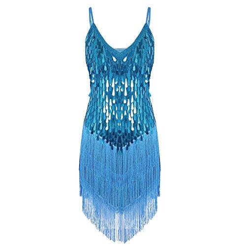 Tiaobug Damen Kleid Retro 1920er Stil Flapper Kleider Troddel V Ausschnitt Great Gatsby Motto Party Frauen Kostüm Festliche Pailletten Kleider Hellblau B Einheitgröße