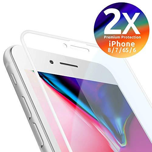 smart engineered Schutzglas kompatibel mit iPhone 8/7 / 6S / 6 | Premium Frame Line Weiss [2 Stück] volle randlose Abdeckung [absolut passgenauer Rand] mit Schablone Rahmen [3D Touch Echtglas]