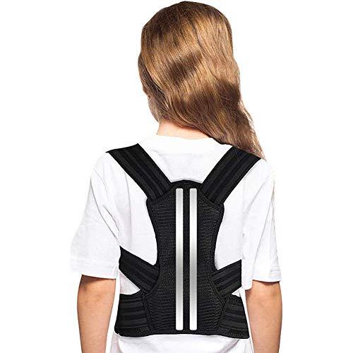 Doact Corrector de Postura Recta Soporte de Espalda con Hombreras Blandas y Cinturones Elásticos Ajustables para Niños y Adolescentes Cifosis, Encorvamiento del Pecho y Jorobado (M)