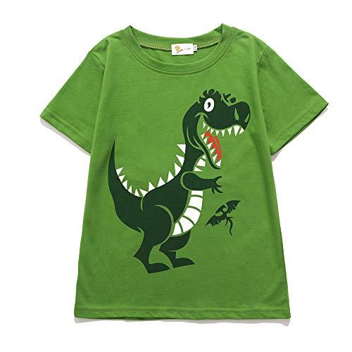T-Shirt Baumwolle Cartoon Dinosaurier Kurzarm Shirt, 01-grün, 116 (Herstellergröße: 120) ()