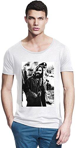 Charles Manson Criminal Vintage Bamboo Wide Neck T-shirt X-Large