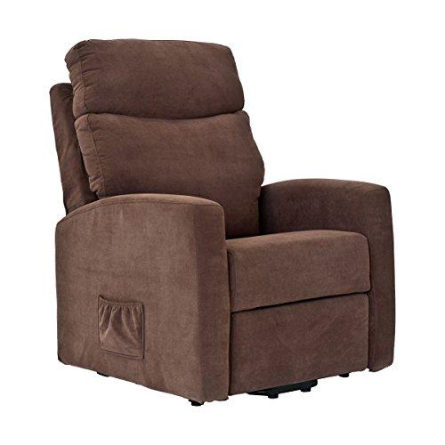 Sillón relax elèctrico en TEJIDO DESENFUNDABLE AL 100%. Levanta personas y reclinación independiente de 2 motores. Modelo Lisbona. Color marrón