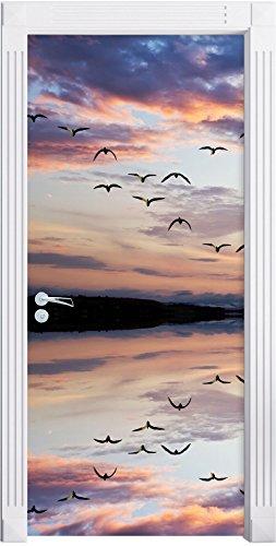 Albero solo riflessa nell'acqua come una carta da parati porta, formato: 200x90cm, telaio della porta, adesivi porta, porta decorazione, autoadesivi del portello