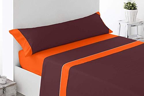 Energy Colors Textil - Hogar Juego SÁBANAS DE Verano Lisas (3 Piezas) para Cama Grande de 150 x 190/200 cm (LIQUIDACIÓN) (Naranja/Marrón)