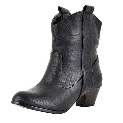 serliy Mode Frauen High Heel Schuh Lederstiefel Frauen Dick mit Ankle Boots Freizeitschuhe Sportschuhe Stiefeletten Winterschuhe Markenschuhe Bequeme Sale Freizeitschuhe Pumps Schicke schnürschuhe