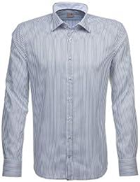 Seidensticker Herren Langarm Hemd Schwarze Rose Slim Fit grau / weiß gestreift mit Patch 227148.34 / E.17