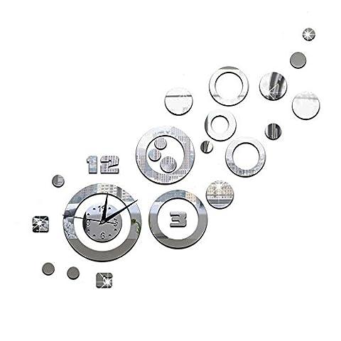 Forepin® Horloge Murale Design Vintage Silencieuse DIY Muraux Décoration Amovible Clock Sticker Autocollants Bricolage Miroir Moderne 3D Industrielle pour Salon Chambre Bureau Maison - Argenté