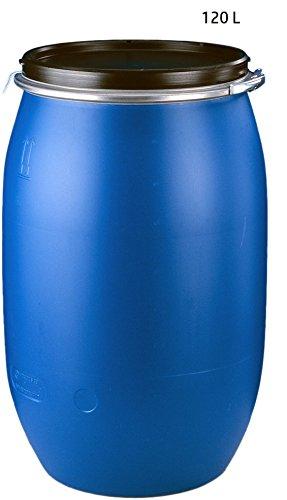 IMPREGNO 120 Liter Kunststofffass Blau mit Dichtung, Spannring und Deckel Sonderangebot! Kunststoff Fass Deckelfass Rundfass Standfass Spundfass Regentonne Regenfass Weithalsfass Lebensmittelecht
