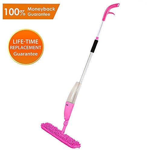 Ansio spray floor mop con tampone in microfibra (lavabile in lavatrice) e bottiglia ricaricabile. adatto per pavimenti in legno, vinile, marmo e piastrelle-rosa
