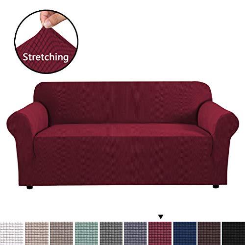 3-sitz-sofa-abdeckung (BellaHills Jacquard Sofa Abdeckung Anti Slip Stretch Hussen Jacquard Sofa Abdeckung Anti-Slip Polyester Spandex Stoff Sofa Protector (DREI Sitze, Wein))