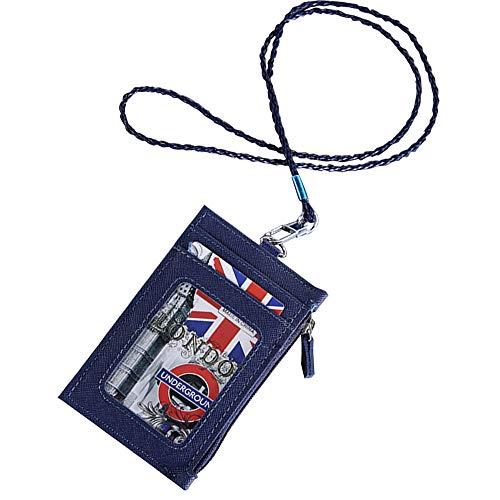 ter Ausweishülle mit Schlüsselband und münzfach mit reißverschluss, ID Abzeichen Halter mit 1 Fenster 3 Karten (Blau) ()