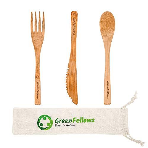 GreenFellows® 4er Bambus Besteck Set (Gabel, Löffel, Messer) mit Reisetasche - natürlich, plastikfrei & umweltfreundlich - 19cm Outdoor Holzbesteck - leicht & stabil - Zero Waste