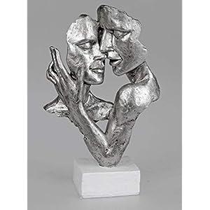 Formano Skulptur Büste Paar auf Sockel 19x32 cm, Handarbeit, Weiß Silber