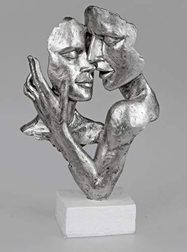 Formano Skulptur Büste Paar auf Sockel 19x32 cm, Handarbeit, Weiß Silber (Weiße Figuren)