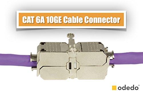 odedo® CAT 6A / 7 feldkonfektionierbarer Kabelverbinder STP 10GE geschirmt werkzeugfreie Montage AWG 22-26 werkzeugfreies Verbindungsmodul Patchkabel Verlegekabel, Field Assembly Cable Connector (Cat 6 Geschirmt Solid)