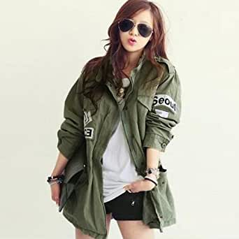 damen military jacke trenchcoat parkas mantel kapuzenjacke stehkragen tailliert coat. Black Bedroom Furniture Sets. Home Design Ideas