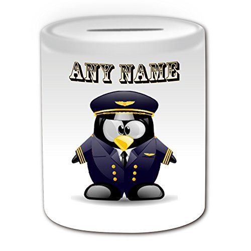 Personalisiertes Geschenk–Pilot in Marineblau Spardose (Design Pinguin in Kostüm Thema, weiß)–alle Nachricht/Name auf Ihre einzigartige–Aviator Uniform Aircraft (Aviator Kostüme)