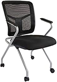 Mahmayi Aura 840Nsf Folding Guest Mesh Chair With Silver Painted Frame Breathable Office Chair With Nylon Elas