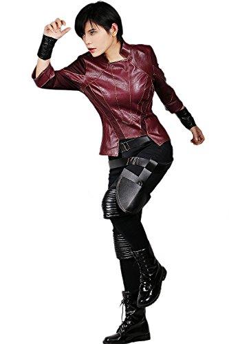 Gamora Halloween Kostüm (Damen Cosplay Kostüm PU Leder Outfit Kleidung Top Jacke Hose mit Zubehör für Erwachsene Halloween Verrücktes Kleid)