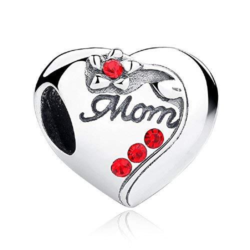 Chengmen jewellery, ciondolo in argento sterling 925 a forma di cuore con zirconi rossi e giglio in rilievo, idea regalo per la festa della mamma, compatibile con i braccialetti con charm europei