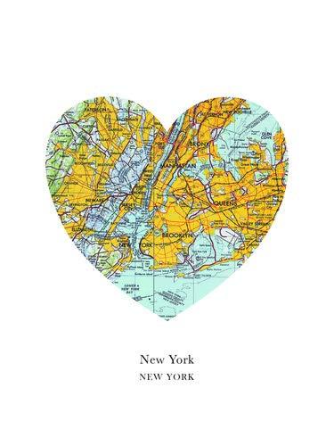 Poster 90 x 120 cm: Herz-Karten-New York von Amelia Gier - hochwertiger Kunstdruck, neues Kunstposter