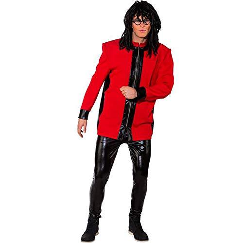 Unbekannt Herren Kostüm Musiker Jacke mit Schulterpolster blau oder rot Gr. 46-56 Show-Kostüm 80er 90er Karneval (54/56, rot)