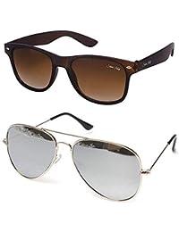 Silver Kartz Cellulose Acetate Titanium Alloy Unisex Sunglasses Combo Collection (cm339, 55, Brown)