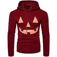 Kinlene Camisas de Manga Larga con Cuello Redondo y Manga Larga con Estampado de Calabaza de Halloween para Hombre