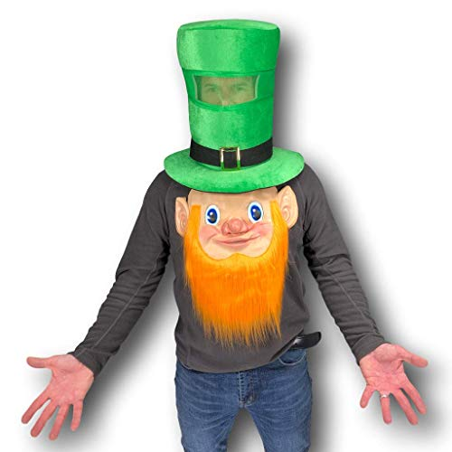 Johnnies Leprechaun Maske mit irischem Bart und grünem Leprechaun aus Gummi, Latex-Gesicht, Ingwer-Bart, st Patty Would be a Happy - Ingwer Mann Kostüm
