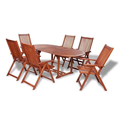 Garten-Essgruppe Holz Set 7 teilig mit Ausziehtisch | Braun Akazienholz-Naturholz | Sitzgarnitur mit 6 Klapp-Stühlen und Tisch | wetterfest Drinnen & Draußen | Gartengarnitur Gartenset-Gartenmöbelset -