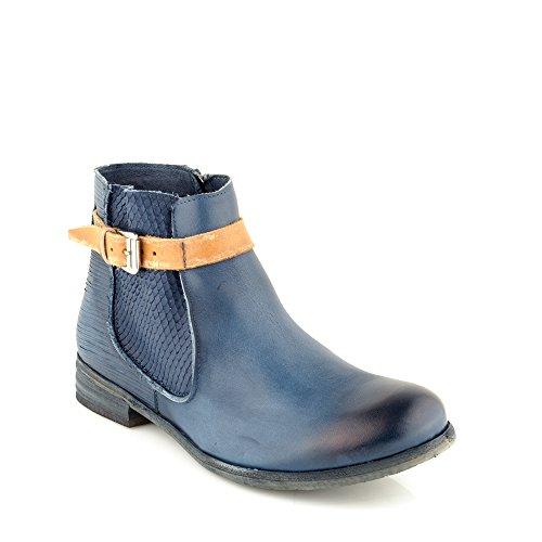 Felmini - Damen Schuhe - Verlieben Alfa A003 - Reißverschluss Stiefeletten - Echtes Leder - Blau Blau