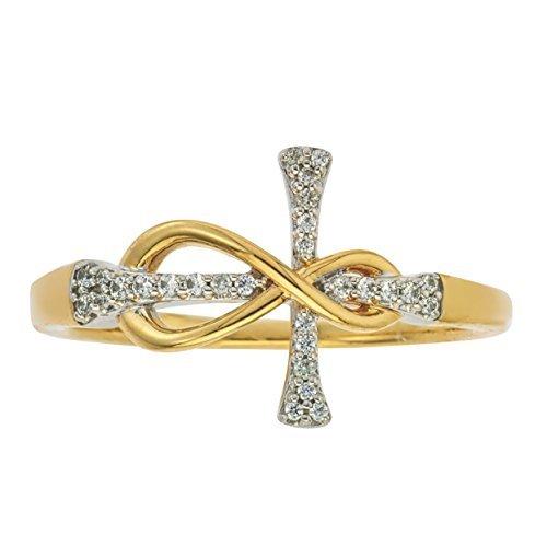 Infinito Anillo de cruz de diamantes en...