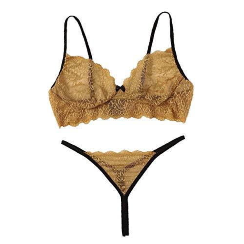 TTLOVE Sexy Dessous Set Damen Spitze Reizwäsche Unterwäsche Spitzen-BH und Slips(Gelb,S)