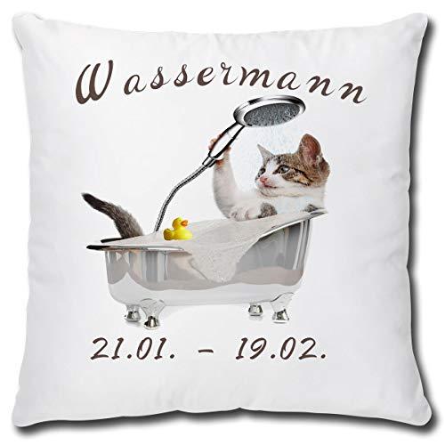TRIOSK Kissen Katzenmotiv Sternzeichen Wassermann Dekokissen lustig mit Katze Geschenk für Katzenliebhaber Frauen Mädchen Kinder Zierkissen Füllung 40x40 Weiß Grau