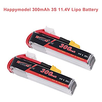 2pcs Happymodel 3S Lipo 11.4V 300mAh Lipo Battery HV 30C/60C with XT30 Connector for FPV Racing Drone Like Mobula7 HD(Not for 10000KV Version)