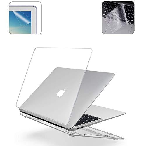 i-Buy Gummierte Harte Schutzhülle Hülle für Apple MacBook Air 13 Zoll (Modell A1932 2018.11 Freigabe) + TPU Tastaturschutz + Schutzfolie- Kristall Klar