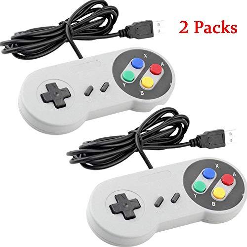 USB-Controller für Super Nintendo/SNES Retro Famicom Game/Joypad/Gamepad für Windows PC/Mac/Linux/Android/Raspberry Pi (Mehrfarbig) 2 Stück