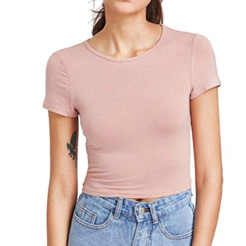 cfb33af9bbfa Hevoiok T-Shirt Damen Sommer Bauchfrei Pure Farbe Tank Kurzarm Slim Crop  Tops Oberteile Bluse