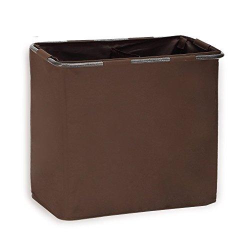 StorageManiac 2-Fach Polyester Canvas Freistehender Wäschekorb mit Rutschfester Griff, Braun (Garment Canvas)