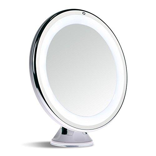 sanheshun Viaje Cálido con luz LED espejo de maquillaje  Touch Activado  el bloqueo de portátil Potente ventosa  giro de 360¡ã  funciona con batería  6inch  redondo