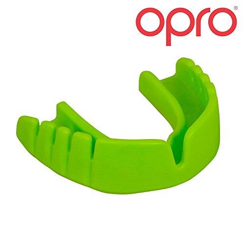 Opro Schnappverschluss, kein Fitting, keine Kochendes, kein Stress Junior Mundschutz für Rugby, Hockey, MMA, Boxen, Lacrosse, American Football, Basketball für Kinder OPRO Mund sind Made in der UK (Grün)